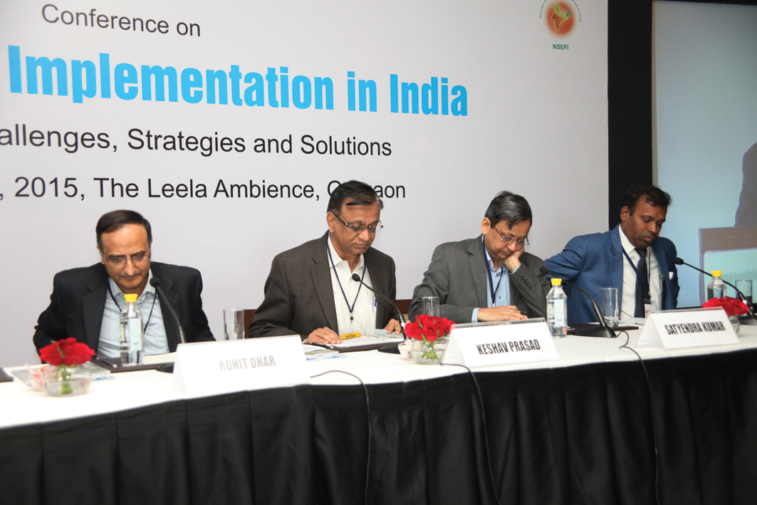 "(From left) Rohit Dhar, Chief Executive Officer (CEO), Solar PV Power, C&S Electric; Keshav Prasad, Chief Operating Officer, Solar, IL&FS Energy Development Company; Dr Satyendra Kumar, Managing Director (MD), Saurya EnerTech; and Anand Kumar, Vice-President (VP), EPC Business, Waaree Energies, at the ""Solar Project Implementation in India"" conference"