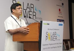 "Upendra Tripathy delivers the keynote address at the ""Solar Power in India"" conference organised by Renewable Watch"
