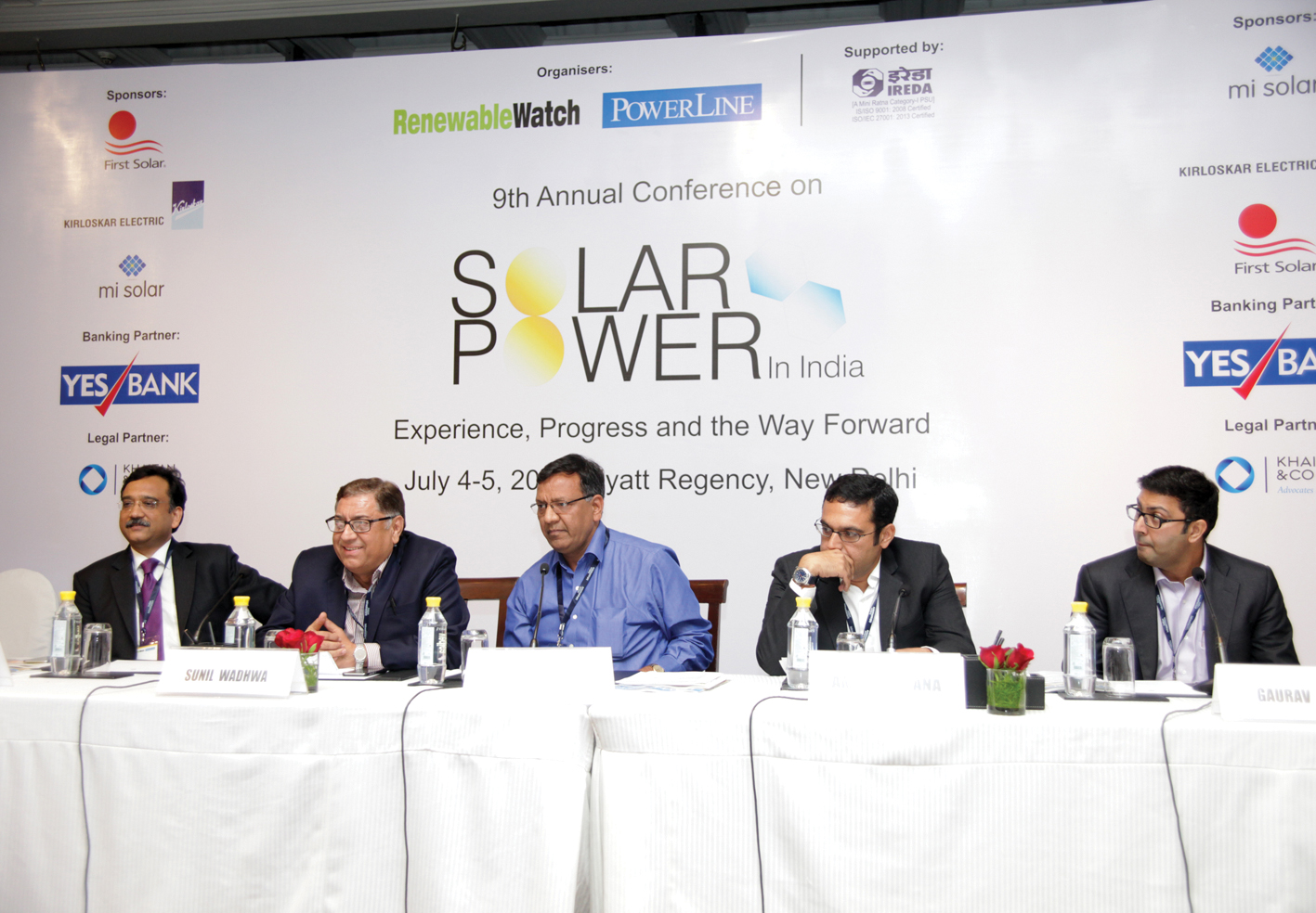 "(From left) Sanjay Aggarwal, MD, Fortum India; Sunil Wadhwa, MD, IL&FS Energy Development Company; Rohit Modi, CEO, Solar Business, Suzlon Energy; Amit Khurana, Group MD, MI Solar; and Gaurav Sood, MD, Solairedirect, at a panel discussion at the ""Solar Power in India"" conference"