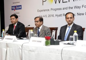 "(From left) Sujoy Ghosh, Country Head, India, First Solar; K.N. Subramaniam, CEO, Moser Baer Solar; and Ashish Khanna, Executive Director and CEO, Tata Power Solar Systems India, at a panel discussion at the ""Solar Power in India"" conference"