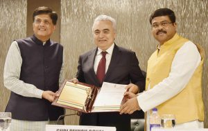 "(From left) Piyush Goyal, Minister of State (Independent Charge) for Power, Coal, New and Renewable Energy and Mines; Dr Fatih Birol, Executive Director, International Energy Agency (IEA); and Dharmendra Pradhan, Minister of State (Independent Charge) for Petroleum and Natural Gas, at the India-IEA: Activation of ""Association"" Status with the IEA event, in New Delhi"