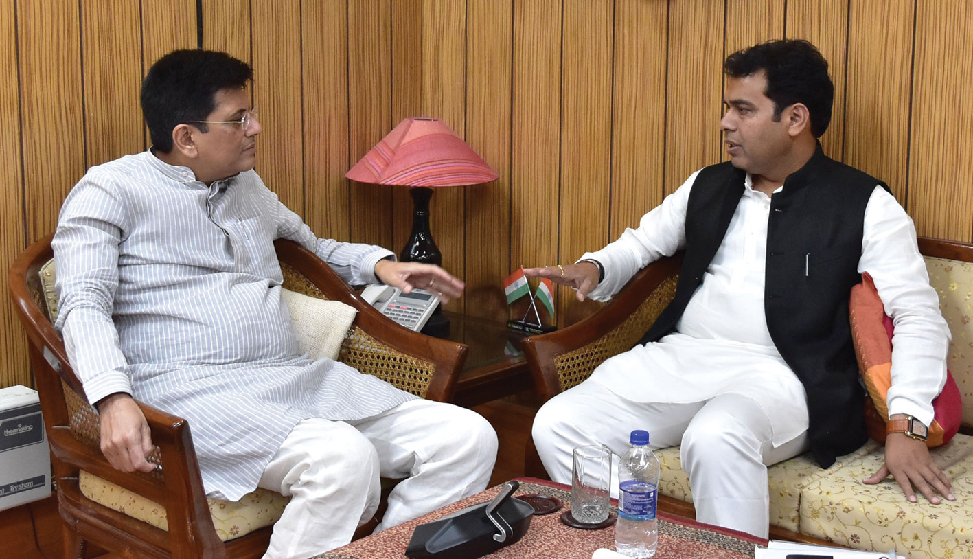 Piyush Goyal meets Shrikant Sharma, Minister of Power, Uttar Pradesh, in New Delhi