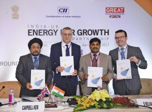 (From left) K.S. Popli, Chairman and Managing Director, IREDA; Campbell Keir, Chairman, Shell Kazakhstan; S. Selvakumar, Joint Secretary (ABC), Ministry of Finance; and Gavin Templeton, Head of Sustainable Finance, Green Investment Bank, UK, at the India-UK Energy for Growth Partnership event