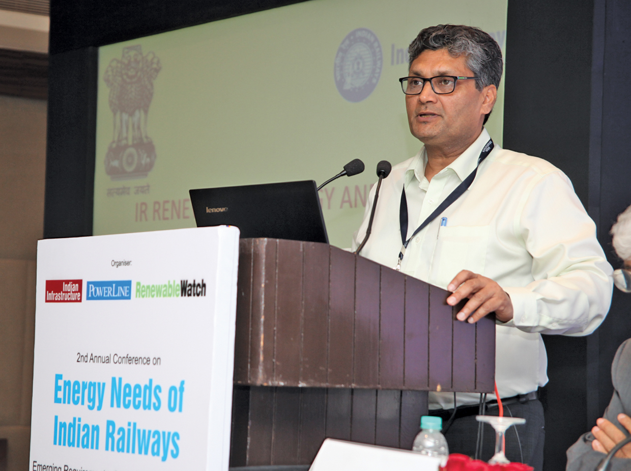 "Sudhir Garg, Executive Director, Electrical Energy Management, Railway Board, at the ""Energy Needs of Indian Railways"" conference organised by Renewable Watch"