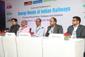 "(From left) Ashok Nair, Business Development Manager, Projects, Waaree Energies; Sanjay Deep, Chief Electrical Service Engineer, Central Railway; Sandip Roy, Chief Electrical Engineer, Construction, Metro Railway, Kolkata; P. Mukherjee, National Technical Consultant, UNDP; and Charith Konda, Consultant, Climate Policy Initiative, India, at the ""Energy Needs of Indian Railways"" conference"