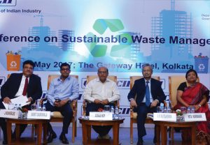 ) (From left) Jayabrata Mukherjee, MD, GP Green Energy Systems Private Limited; Sumit Dabriwala, Director, Hiland Projects; Arnab Roy, Principal Secretary, Department of Environment, West Bengal; A.K. Raybarman, Chief General Manager, NABARD; and Nita Karmakar, Regional Director, CII East & North East, at the Conference on Sustainable Waste Management in Kolkata