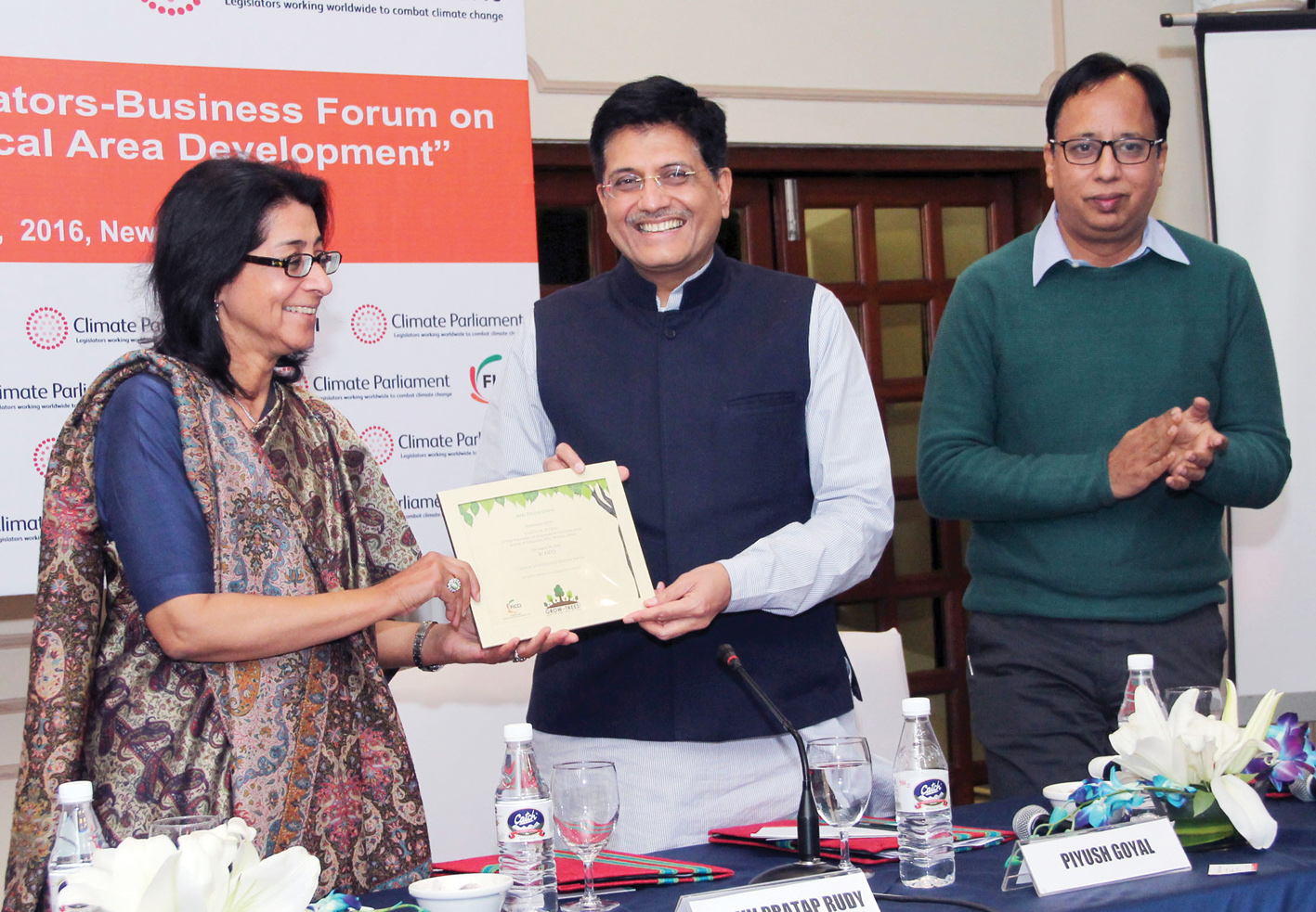 Piyush Goyal, Minister of State (Independent Charge) for Power, Coal, New and Renewable Energy and Mines (centre), at the FICCI-Climate Parliament Legislator-Business Forum, in New Delhi