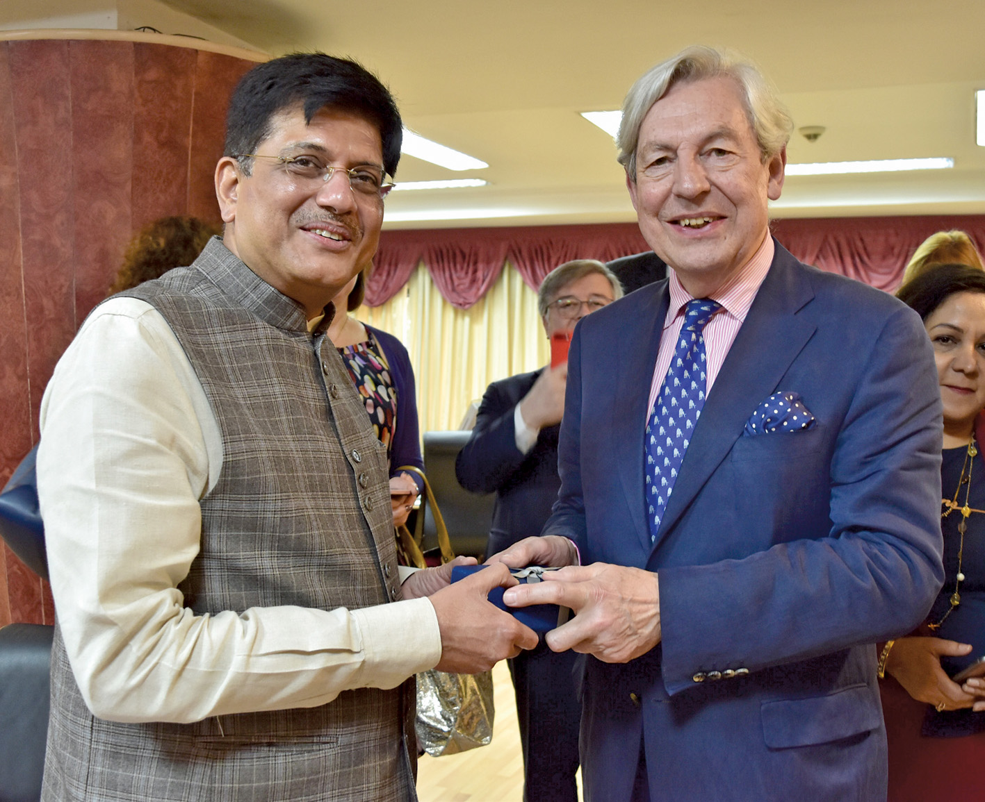 Piyush Goyal, Minister of State for Power, Coal, New and Renewable Energy and Mines (Independent Charge), meets Geoffrey Van Orden, Vice-Chair, European Conservatives and Reformists Group (right), in New Delhi