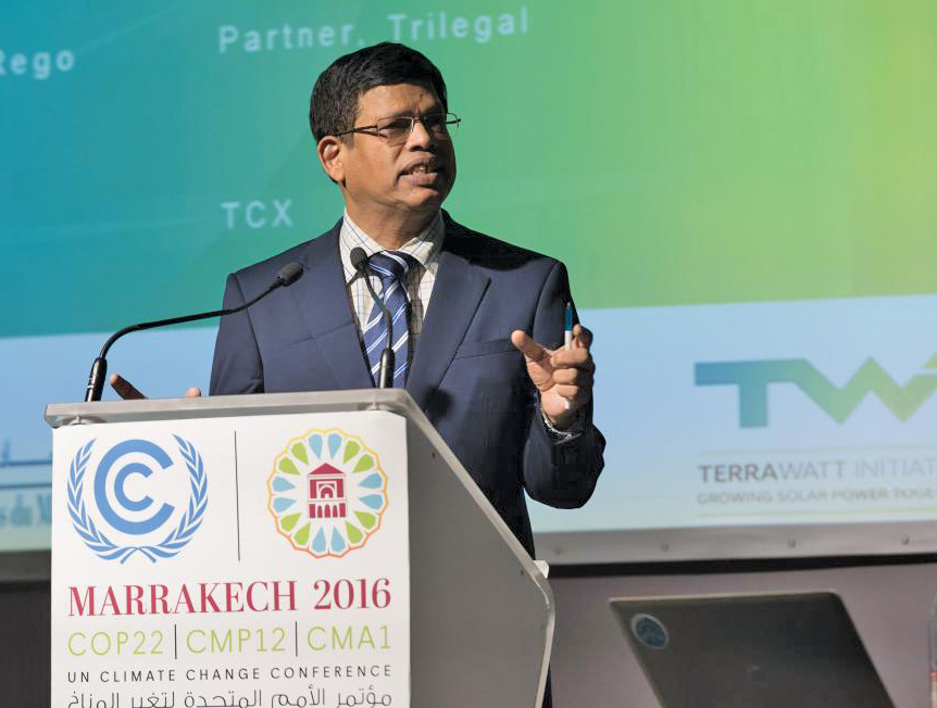 Upendra Tripathy, Ex-Officio Director General, International Solar Alliance, addresses the UN Climate Change Conference 2016 at Marrakech, Morocco