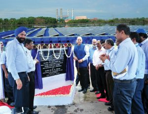 A.K. Jha, Director, Technical, NTPC Limited (third from left), inaugurates the company's 100 kWp floating solar PV plant in Kerala