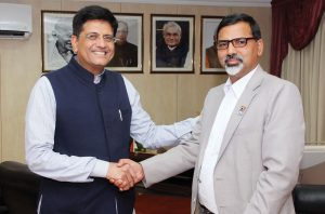 Janardan Sharma Prabhakar, Minister of Energy, Nepal (right), meets Piyush Goyal in New Delhi