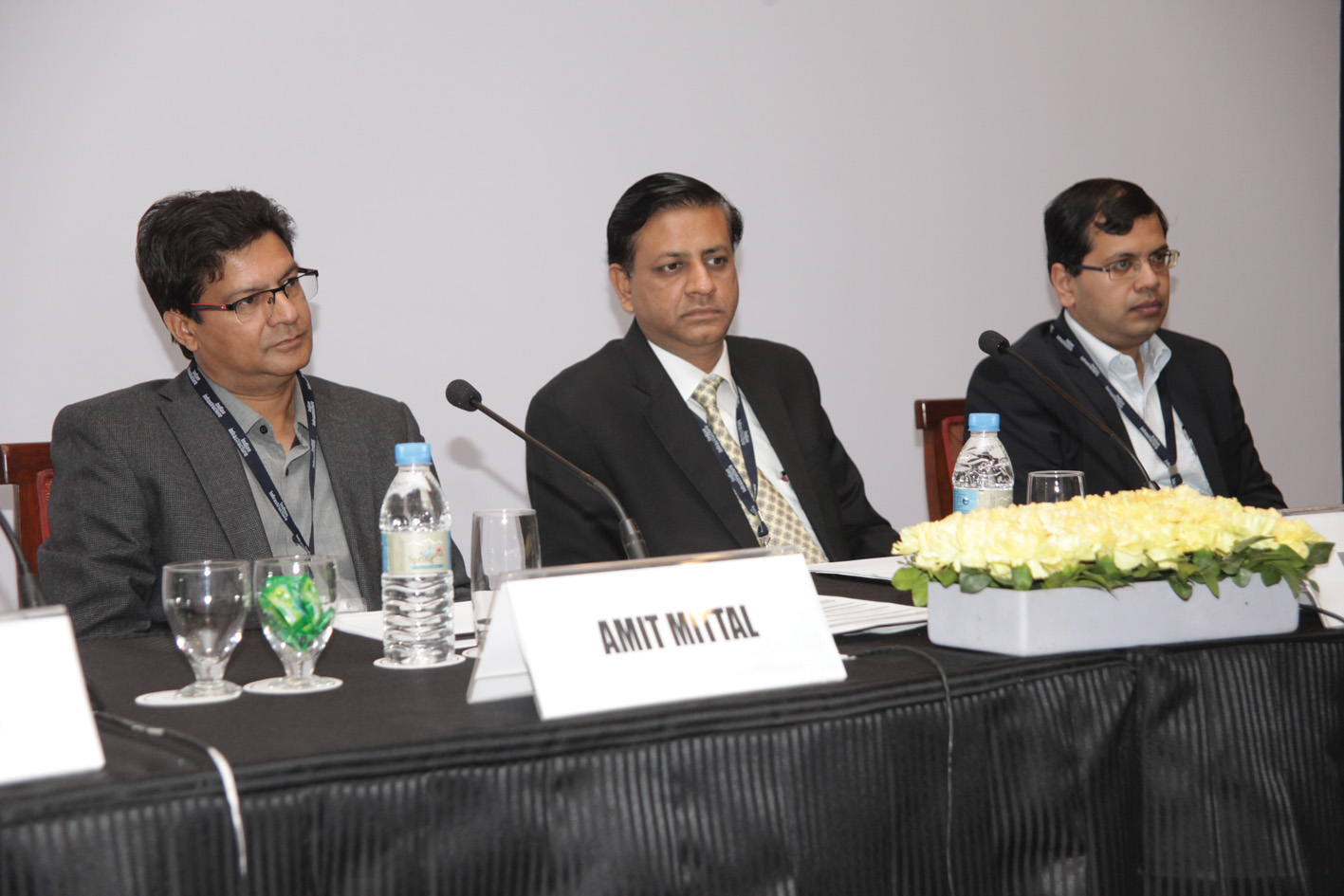"(From left) Amit Mittal, Director, Technical Sales, First Solar; Manoj Gupta, Vice-President, Solar, Fortum India; and Kaustav Sen, Head, Solar, KEC, at the ""Balance of System for Solar PV Plants"" conference organised by Renewable Watch"