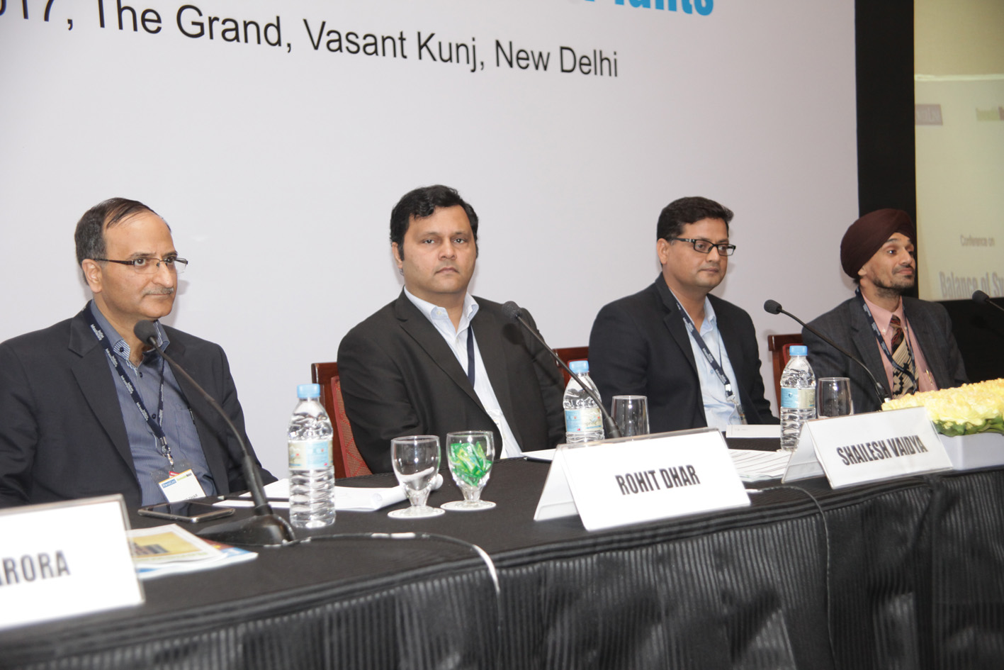 "(From left) Rohit Dhar, CEO, Solar PV Power, C&S Electric; Shailesh Vaidya, CEO, Solar Tracker, Scorpius Trackers; Nitin Sharma, Vice-President, Head, Solar & Energy Storage, Raychem RPG; and Sukhwinder Singh, Director, Ingeteam Power, at the ""Balance of System for Solar PV Plants"" conference"