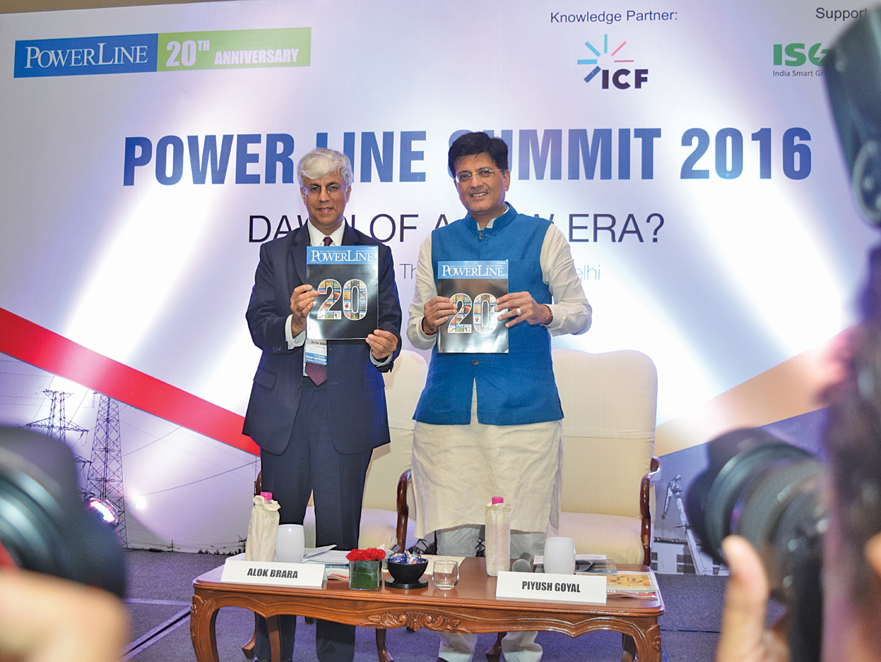 Piyush Goyal, Minister of State (Independent Charge) for Power, Coal, New and Renewable Energy and Mines (right); and Alok Brara, Publisher, Power Line, release the 20th Anniversary Edition of the magazine at the Power Line Summit 2016
