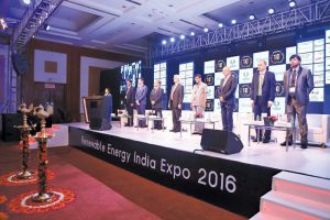 Key dignitaries at the inauguration of Renewable Energy India 2016 (PRNewsFoto/UBM India Pvt. Ltd.)