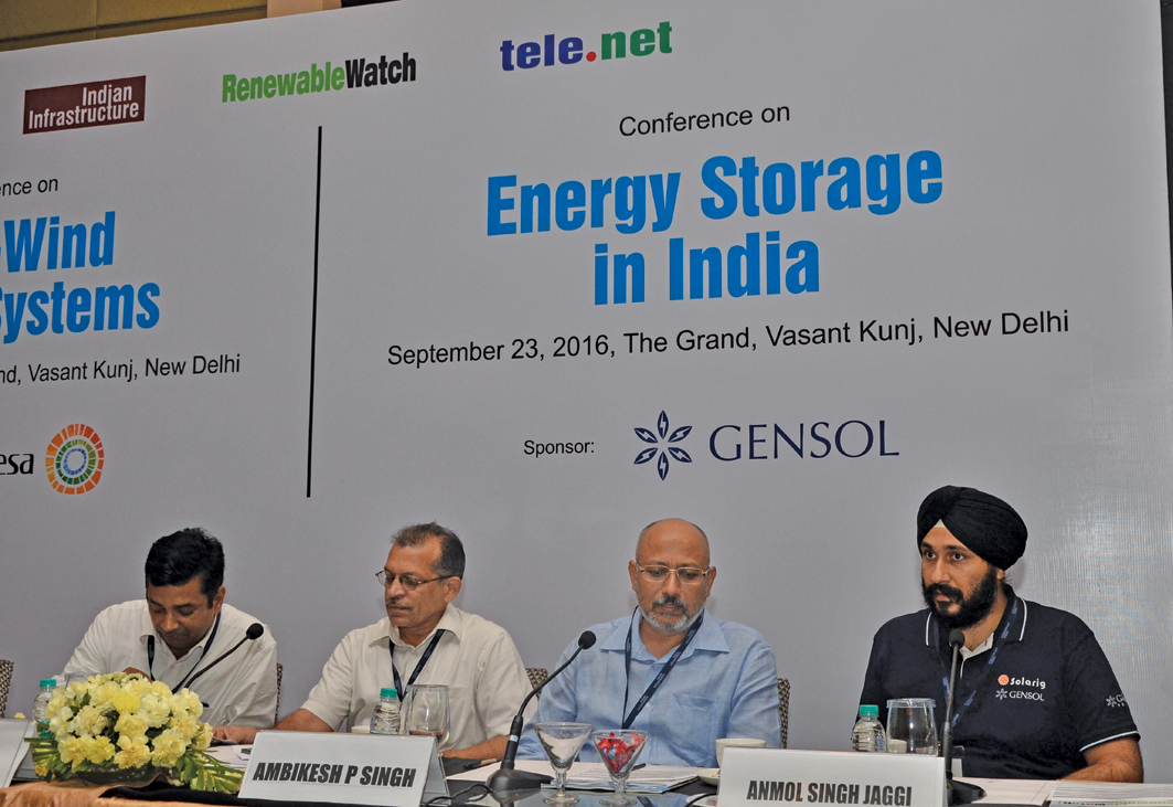 "(From left) Rajsekhar Budhavarapu, Head, Wind Business and CTO, Renewable Investments, IL&FS Energy; Sajid Mubashir, Scientist-G, Department of Science & Technology, Government of India; Ambikesh Pratap Singh, Former Vice-President and Head, Energy and Estate SBU, Viom Networks; and Anmol Singh Jaggi, Director, Gensol Consultants, at the ""Energy Storage in India"" conference"