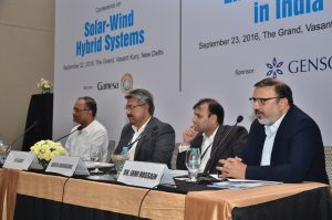 "(From left) Mahesh Vipradas, Vice-President, Regulatory Affairs, Suzlon Energy; K.V. Sajay, Executive Vice-President, Solar Business Unit, Gamesa; Naveen Khandelwal, Head, Investment and Strategy, Hero Future Energies; and Dr Jami Hossain, Senior Corporate Adviser, Regen Powertech, at the ""Solar-Wind Hybrid Systems"" conference"