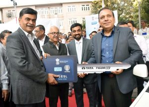 Raj Kumar Singh and Anand Kumar, at the launch of Energy Efficiency Services Limited's National Electric Mobility Programme, in New Delhi