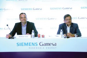 (From left) Marcus Tacke, Chief Executive Officer (CEO), Siemens Gamesa Renewable Energy; and Ramesh Kymal, Onshore CEO for India, at an event in Chennai to commemorate the achievement of commissioning 5 GW of capacity in India