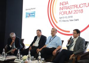 Atanu Chakraborty, Director General, Directorate General of Hydrocarbons; Praveer Sinha, CEO and Managing Director, Tata Power Delhi Distribution Limited; and J.P. Chalasani, Group CEO, Suzlon Group, at India Infrastructure Forum's First Annual Meet 2018
