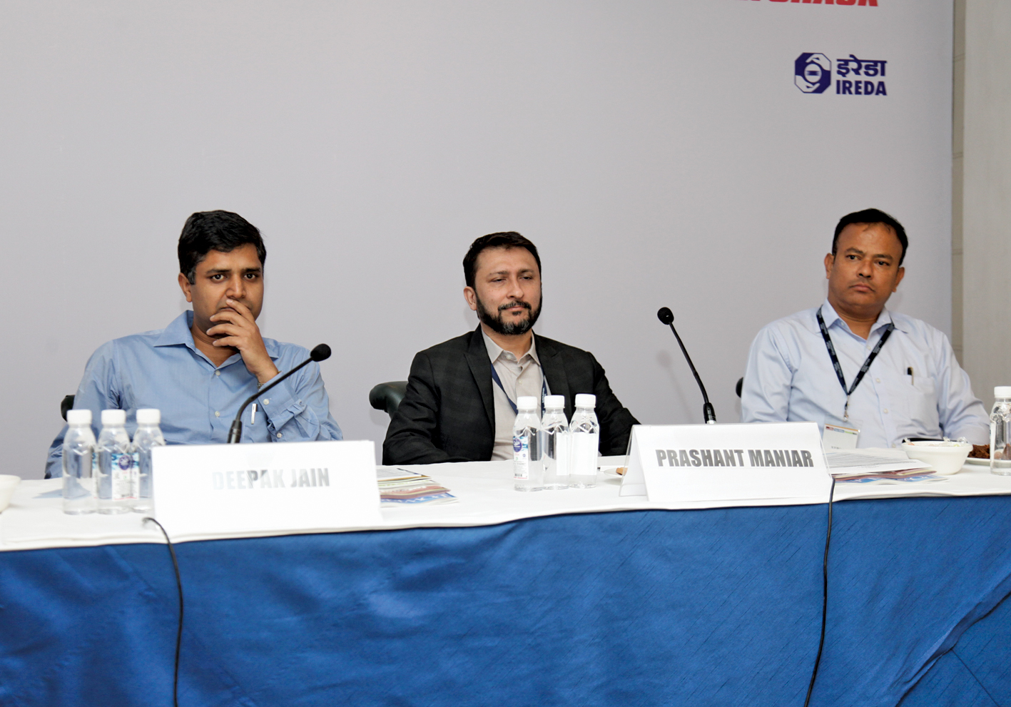 Deepak Jain, Deputy General Manager, PFC; Prashant Maniar, Managing Partner, Encito Advisors; and K.P. Philip, Assistant General Manager, IREDA, at Renewable Watch's conference on Waste to Energy