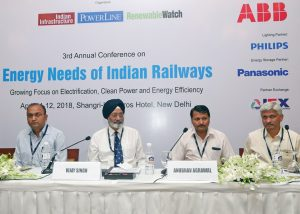 Prodyut Mukherjee, National Technical Consultant, UNDP; Vijay Singh, General Manager - Rooftop, Azure Power; Anubhav Agrawal, Deputy Chief Electrical Engineer, North Central Railway and Sanjay Waghmare, Chief Electrical Service Engineer, Central Railway, at Renewable Watch's conference on Energy Needs of Indian Railways