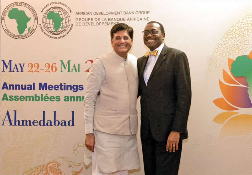 Piyush Goyal (left) meets Akinwumi A. Adesina, President, African Development Bank Group, in Gujarat