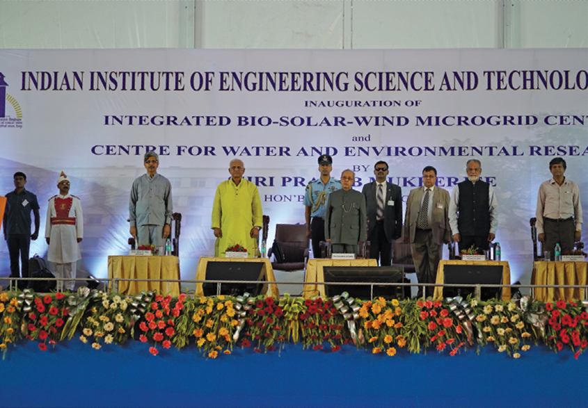 President Pranab Mukherjee, inaugurates the Bio-Solar-Wind Microgrid Centre and the Centre for Water and Environment Research at the Indian Institute of Engineering Science & Technology, Shibpur, West Bengal
