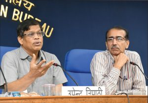 Upendra Tripathy, Interim DG, International Solar Alliance (left), briefs the media regarding the initiatives taken by the alliance