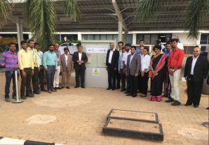 Executives from Bengaluru International Airport Limited (BIAL) and Bosch at the inauguration of a 440 kW solar project at the BIAL car park area