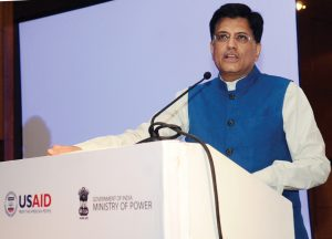 "Piyush Goyal, Minister of State (Independent Charge) for  Power, Coal, New and Renewable Energy and Mines, addresses the audience at the release of the report, ""Greening the Grid: Pathways to Integrate 175 gigawatts of Renewable Energy into India's Electric Grid"""