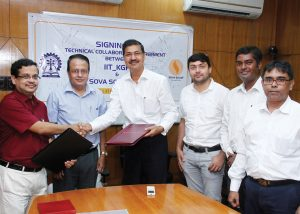(From left) IIT Kharagpur's Professor Pallab Dasgupta, Dean, and Professor Jatin Roy; Sova Solar's Subrata Mukherjee, CMD, Soumyen Mukherjee, President, Krishnendu Mukherjee, COO, and Saugata Datta, Adviser, at the signing of a technical collaboration agreement between IIT Kharagpur and Sova Solar