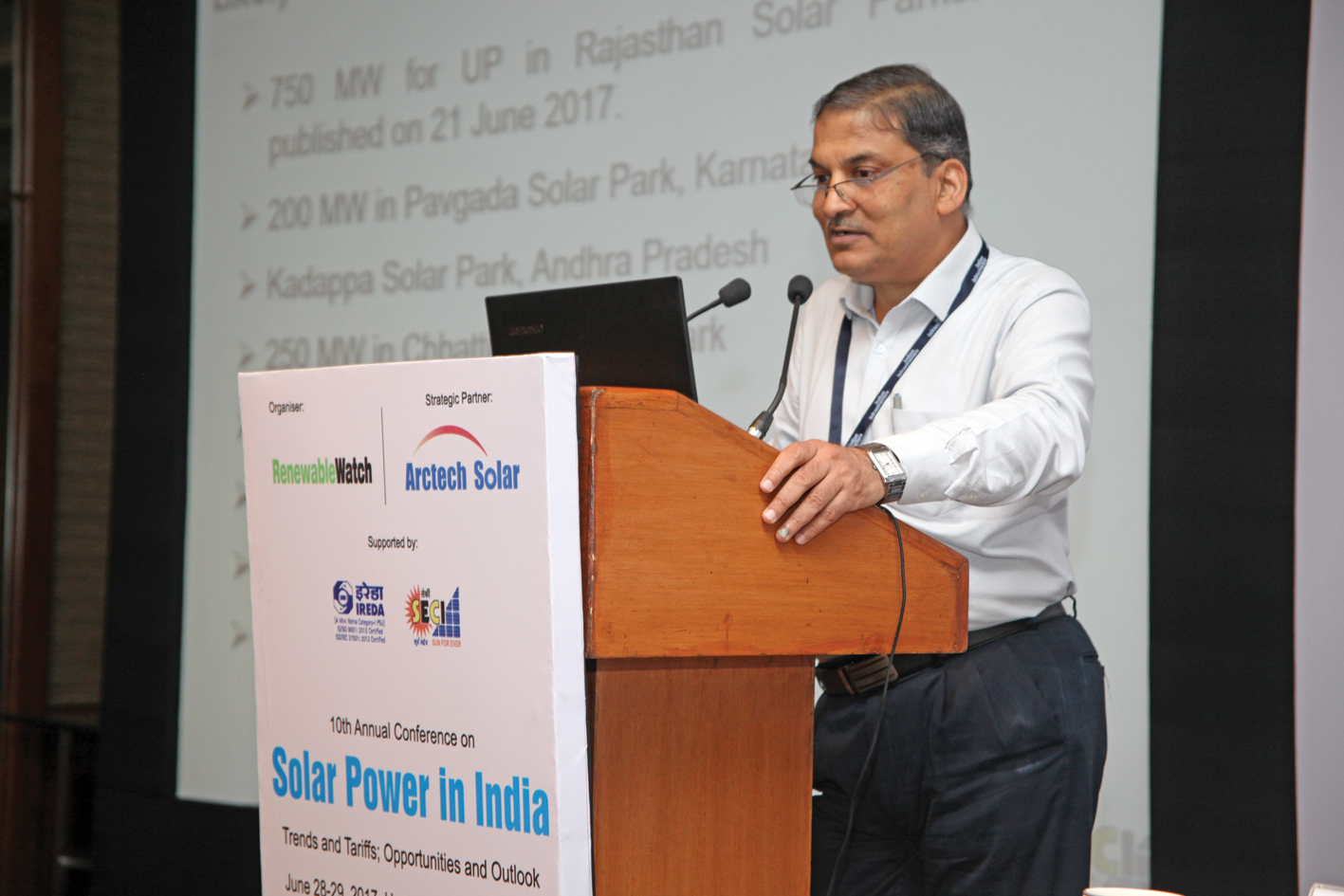 ")  Dr Ashvini Kumar, Managing Director, Solar Energy Corporation of India, at the ""Solar Power in India"" conference"