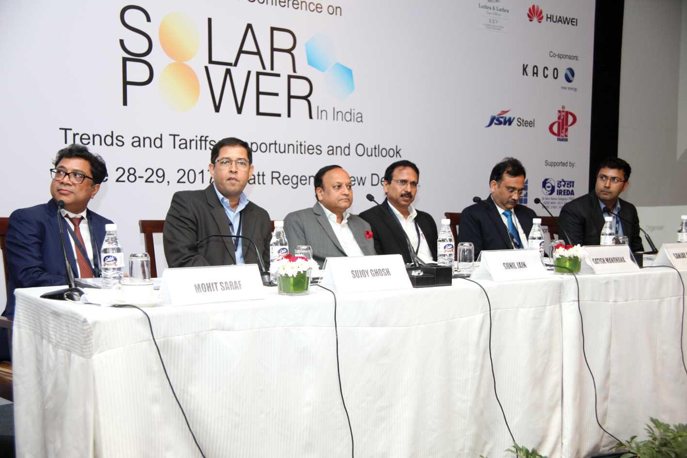 "(From left) Mohit Saraf, Senior Partner, Luthra & Luthra;  Sujoy Ghosh, Country Head, India, First Solar Power; Sunil Jain, Chief Executive Officer (CEO) and Executive Director, Hero Future Energies; Satish Mandhana, Managing Partner, Private Equity & Sustainable Initatives, IDFC Alternatives; Sanjay Aggarwal, CEO, Fortum India; and Gaurav Sood, CEO, Spring Energy, at the ""Solar Power in India"" conference"