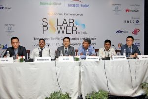 "(From left) Aaron Wu, General Manager, Phono Solar Technology, SUMEC Group; Rahul Kshetrapal, General Manager, Sterling & Wilson; Guy Rong, President, Arctech Solar; Hari Krishna Kadapurath, Senior General Manager, Greenko Group; Sanjeev Kumar, Senior General Manager, Greenko Group; and Hank Wang, Vice-President, International Business Department, Sungrow Power Supply Company Limited, at the ""Solar Power in India"" conference"