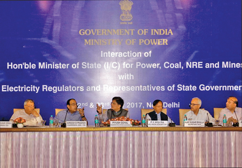 (From left) R.K. Verma, Chairperson, Central Electricty Authority; Gireesh B. Pradhan, Chairperson, Central Electricity Regulatory Commission; Piyush Goyal; P.K. Mishra, Additional Principal Secretary to the Prime Minister; A.K. Bhalla; and Anand Kumar, at an interaction with electricity regulators and representatives of the state governments