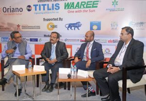 From left) Dr Rambabu Paravastu, Chief Executive Officer, RSM GC Advisory Services; Ashish Agnihotri, Business Development Leader North, Oriano Solar; Kapil Mantri, Head, Corporate Strategy and BD, Jindal Steel & Power Limited; and Nalin Sharma, Vice-President, Asia, Ecoppia Scientific, at the RISE 2017 Awards