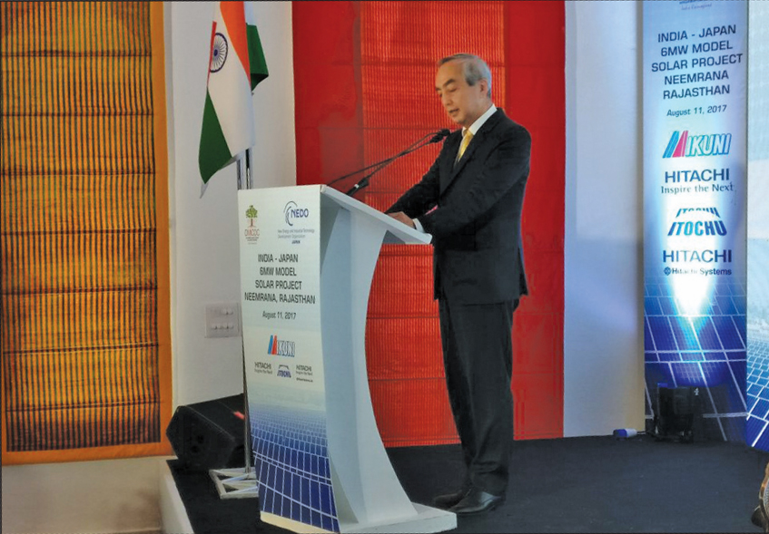 H.E. Kenji Hiramatsu, Ambassador of Japan to India, speaks at the inauguration of a 6 MW solar power project at Neemrana, Rajasthan, set by Delhi Mumbai Industrial Corridor Development Corporation Limited