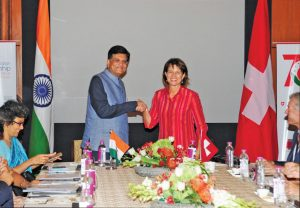 Piyush Goyal with Doris Leuthard, President of the Swiss Confederation (right), at a business delegation meeting, in New Delhi