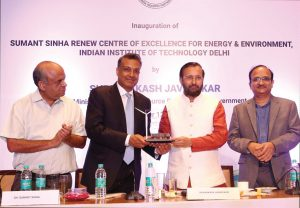 (From left) Professor Bodh Raj Mehta, IIT Delhi; Sumant Sinha, Chairman and Chief Executive Officer (CEO), ReNew Power; Prakash Javadekar, Minister of Human Resource Development; and Professor V. Ramagopal Rao, Director, IIT Delhi, at the launch of the Sumant Sinha ReNew Centre of Excellence for Energy and Environment, set up in collaboration with IIT Delhi