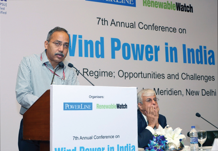 "Jatindra Nath Swain, Managing Director, Solar Energy Corporation of India, speaks at the ""Wind Power in India"" conference"