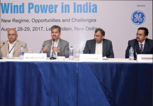 "(From left) Sudhir Nunes, CEO, Wind Business, Orange Renewable; Mahesh Palashikar, CEO, GE Renewable Energy; Sanjay Nagrare, Head, Business Development and Commercial, Sembcorp Green Infra; and Ramakumar P., Chief Marketing Officer, Kshema Power, at the ""Wind Power in India"" conference"