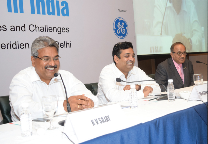 "(From left) K.V. Sajay, Executive Vice-President, Solar Business Unit, Siemens Gamesa; Rajsekhar Budhavarapu, Independent Consultant; and Bimlesh N. Shah, President, Offshore Business, Suzlon Energy, at the ""Wind Power in India"" conference"