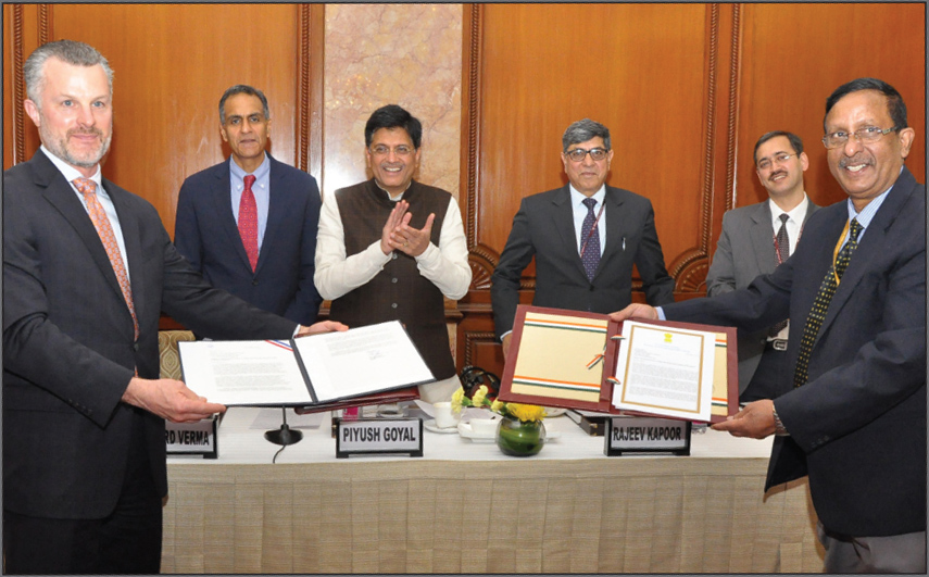 Piyush Goyal, Former Minister of State (Independent Charge) for Power, Coal, New and Renewable Energy, and Mines (third from left), and Richard Verma, Former US Ambassador to India (second from left), at an event to announce the US-India Clean Energy Finance Facility Initiative in New Delhi