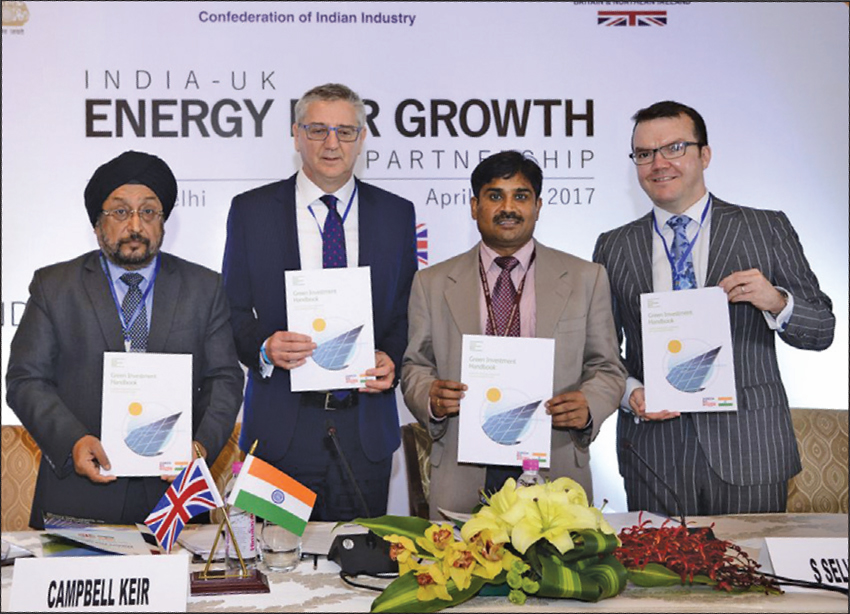 (From left) K.S. Popli, Chairman and Managing Director, IREDA; Campbell Keir, Chairman, Shell Kazakhstan; S. Selvakumar, Joint Secretary (ABC), Ministry of Finance; and Gavin Templeton, Head of Sustainable Finance, Green Investment Bank, UK, at the India- UK Energy for Growth Partnership event