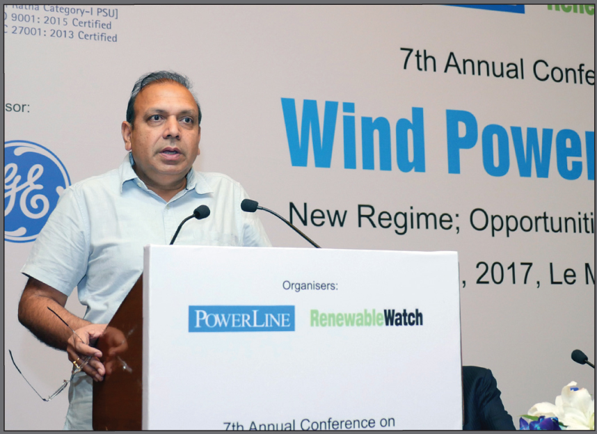 "Anand Kumar delivers the keynote address at Renewable Watch's ""Wind Power in India"" conference"