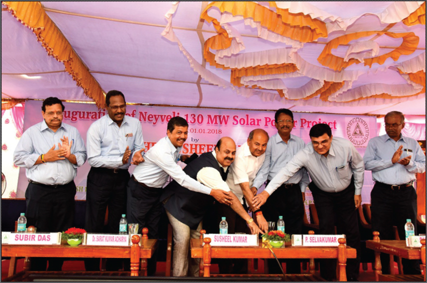 Susheel Kumar, Secretary, Ministry of Coal (third from right), inaugurates a 130 MW solar power project in the presence of Dr Sarat Kumar Acharya, Chairman and Managing Director, NLCIL (centre), and other senior company officials