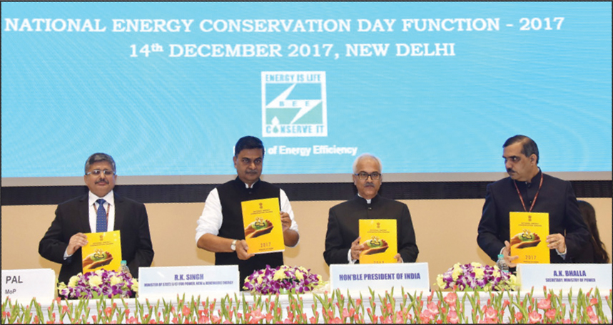 (From left) Raj Pal, Economic Adviser and Joint Secretary, Ministry of Power; Raj Kumar Singh, Minister of State (Independent Charge) for Power and New and Renewable Energy; Ajay Kumar Bhalla, Secretary, Ministry of Power; and Abhay Bhakre, Director General, Bureau of Energy Efficiency, release a publication at the National Energy Conservation Day function