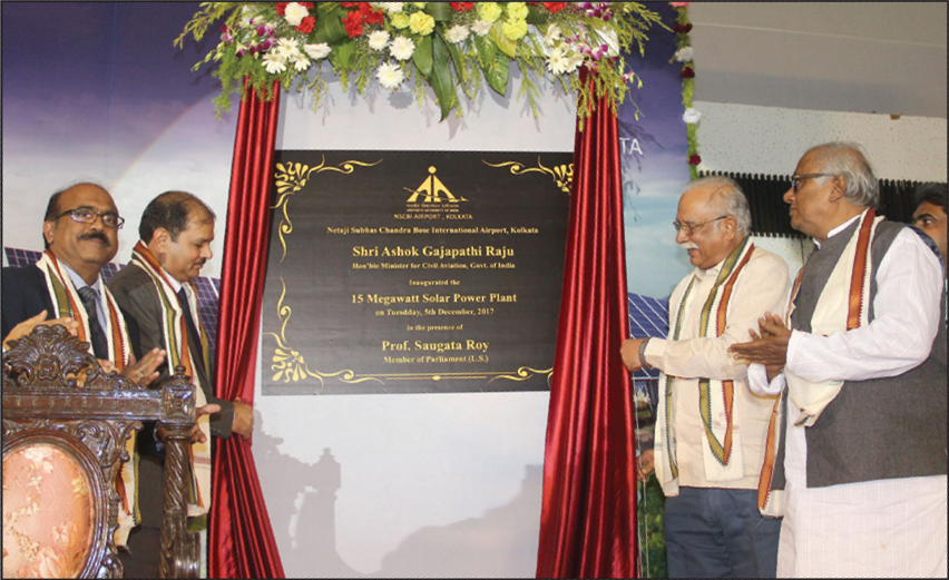Ashok Gajapathi Raju Pusapati, Minister for Civil Aviation, unveils a plaque to inaugurate a 15 MW solar power plant at NSCBI airport in Kolkata