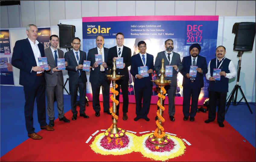 Senior dignitaries from the Indian Renewable Energy Development Agency, International Solar Alliance, Agency for Non-conventional Energy & Rural Technology and Solar Energy Research Institute of Singapore, at the opening ceremony of Intersolar Mumbai 2017